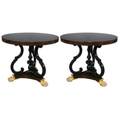 Pair of Jonathan Charles Mahogany Centre Table with Gilded Lions Paw Feet