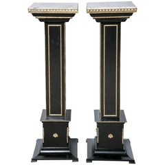 Pair Bronze-Mounted Ebonized Pedestals by Maison Jansen With White Marble Tops