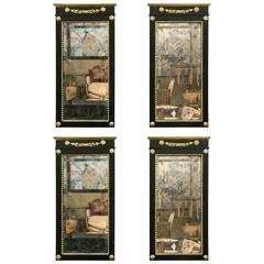 Set of Four Antique Ebony and Giltwood Wall / Console Mirrors