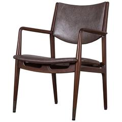 Vintage Danish Modern Armchair with Shagreen Upholstery, circa 1965