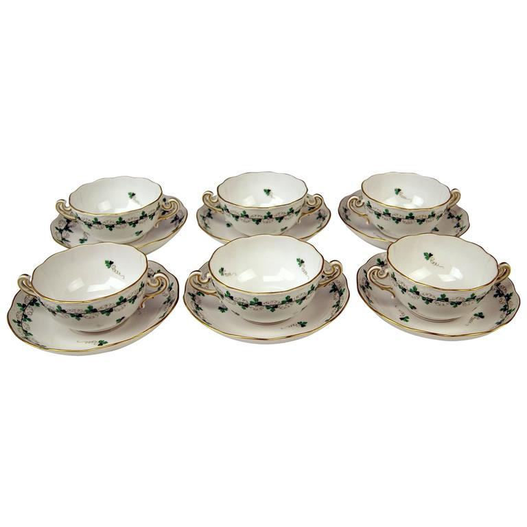 Herend Soup Bowls for Six Persons Decor Persil, circa 1960