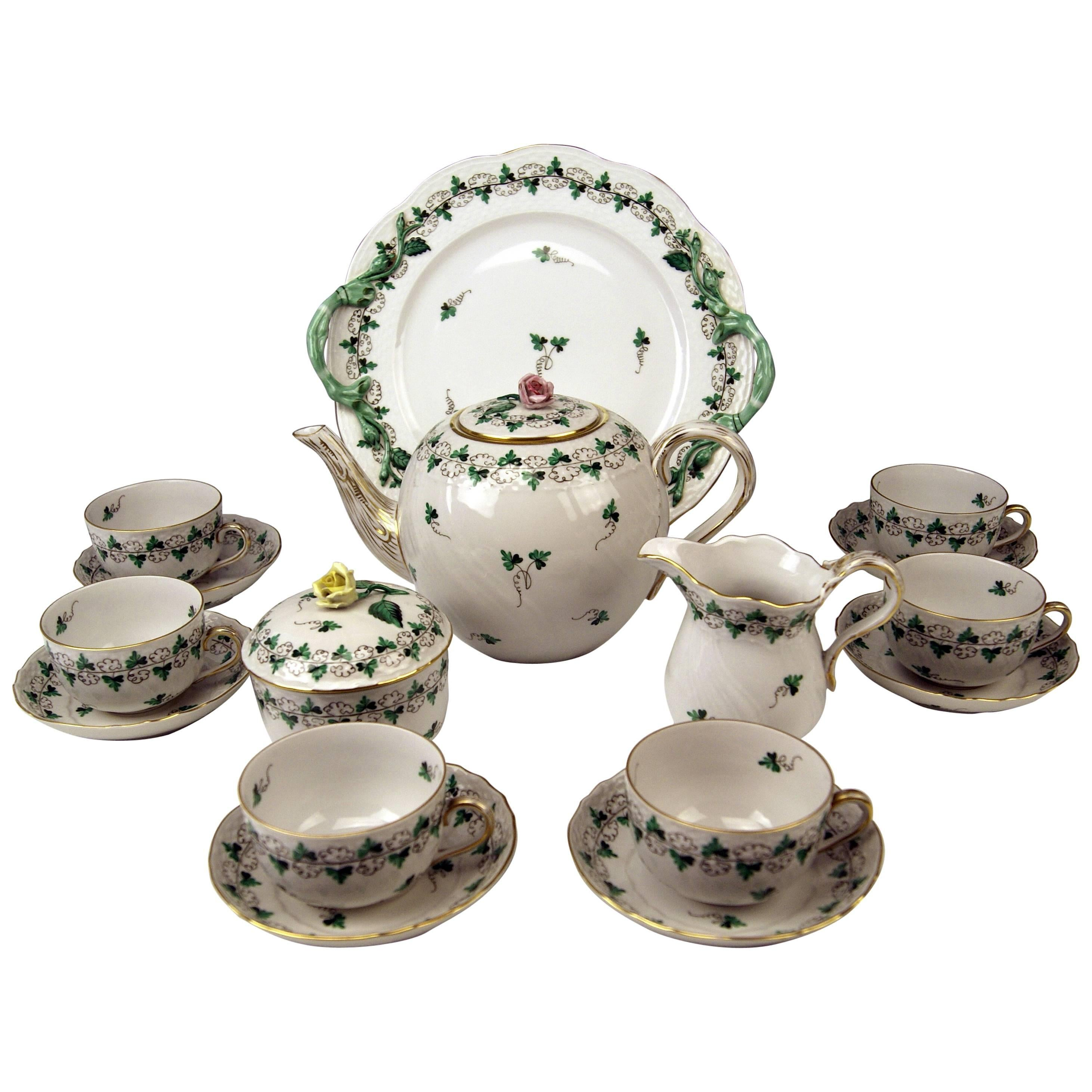 Herend Tea Set for Six Persons Decor Persil, circa 1960