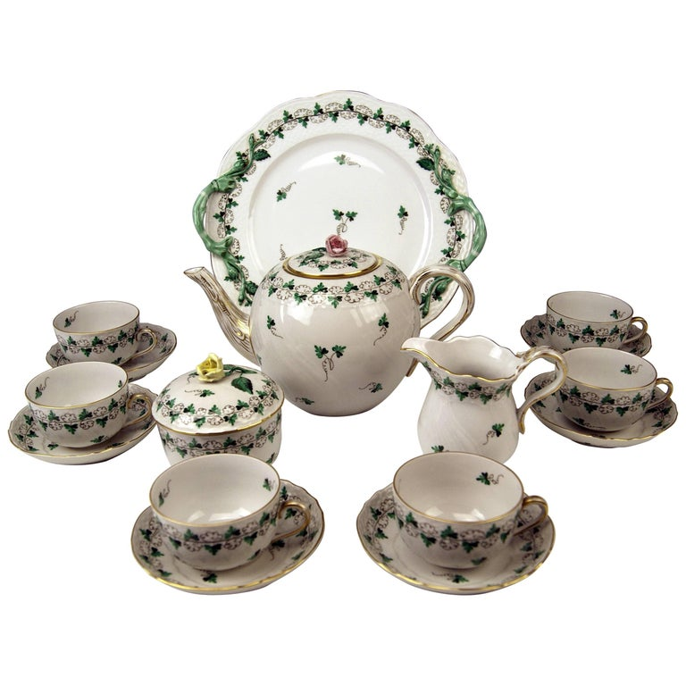 Herend Tea Set for Six Persons Decor Persil, circa 1960 For Sale