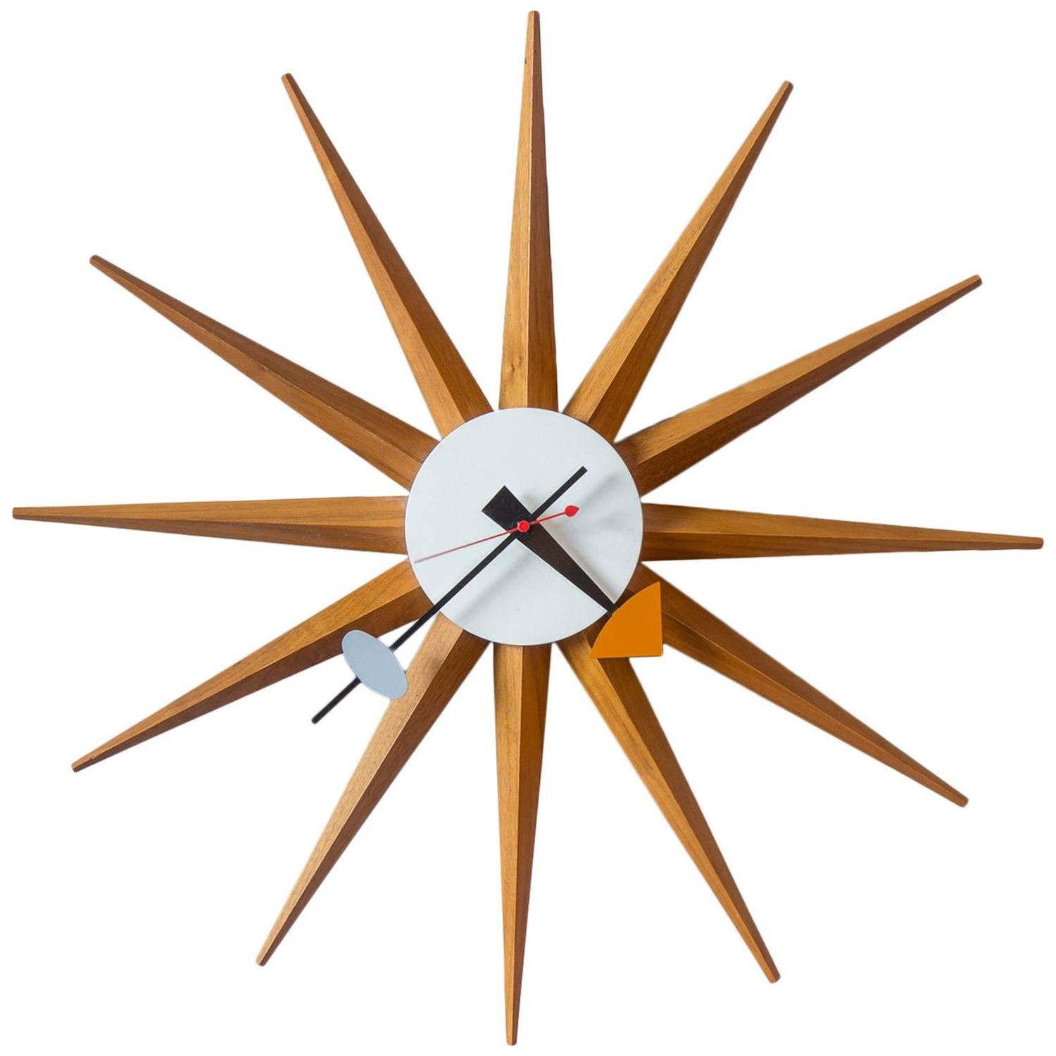 1950s george nelson sunburst wall clock at 1stdibs for Nelson wall clock