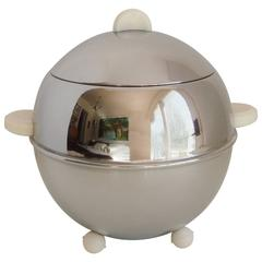 Rare English Mid-Century Modern Chrome Afternoon Tea Biscuit Barrel by P,B & B