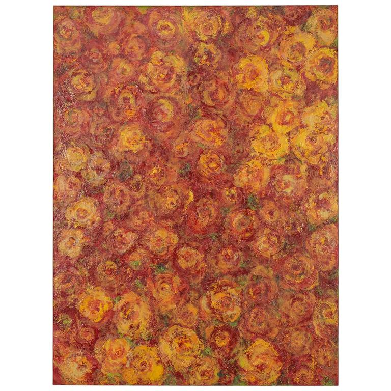 """Rose Field,"" Original Mixed-Media Painting by Sheema Muneer"