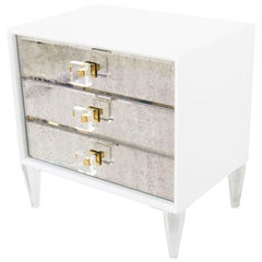 Modern Style Juliette Side Table in White w/ Antique Mirror Front & Lucite Pulls