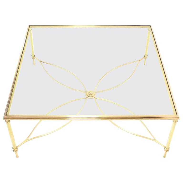 Large Square Brass Coffee Table w/ Lotus Like Base Stretcher