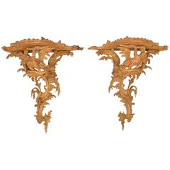 Pair of Fine Eagle Form Carved Wood Brackets