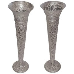 Pair of Silver Plated Flora Vases