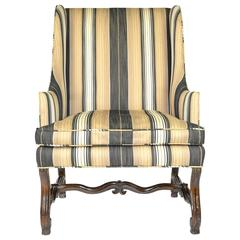 French Walnut Framed Large Scale Wing Chair
