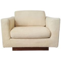 Mid-Century Dunbar Walnut Plinth Club Chair