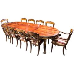 Antique Flame Mahogany Ormolu Dining Table and Ten Chairs