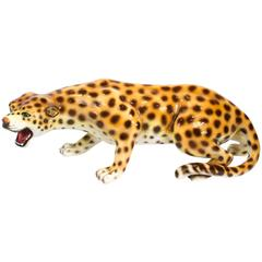 Large Italian Mid-Century Modern Ceramic Cheetah Sculpture