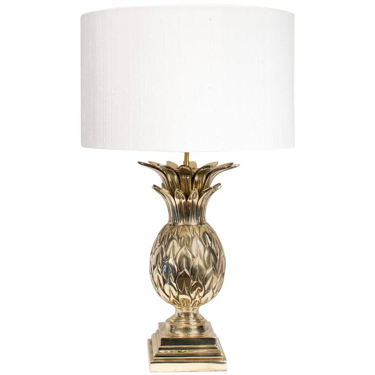 pineapple brass table lamp at 1stdibs. Black Bedroom Furniture Sets. Home Design Ideas