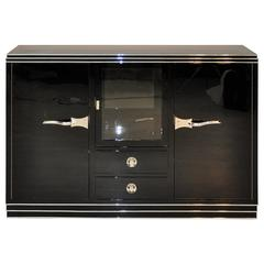 Art Deco Showcase Sideboard with Curved Chrome Handles