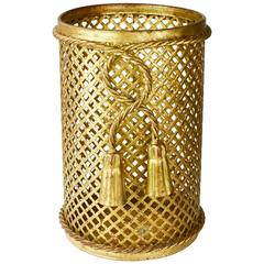 1950s Italian Hollywood Regency Gilded Waste Paper Basket by Li Puma Firenze