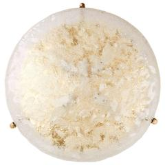 Large Textured Glass and Brass Flush Mount Light Fixture by Hillebrand, Germany