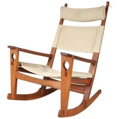 """""""Keyhole"""" Rocking Chair by Hans J. Wegner for GETAMA, Denmark, circa 1960"""