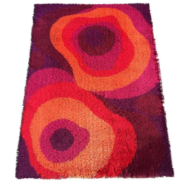 Beautiful Abstract Mid Century Rya Rug From Ege Taepper Of Denmark For