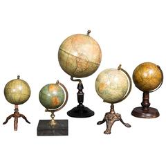 Set of Five Small 19th Century Globes