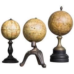Set of Three Small 19th Century Globes