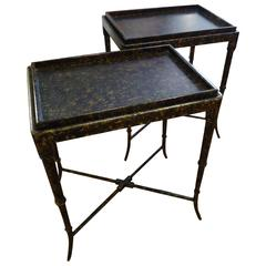 Pair of Faux Tortoise Side Tables with Removable Tray Tops