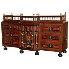 Late 17th Century Flemish Ebonized Walnut & Rosewood Inlaid Table Cabinet