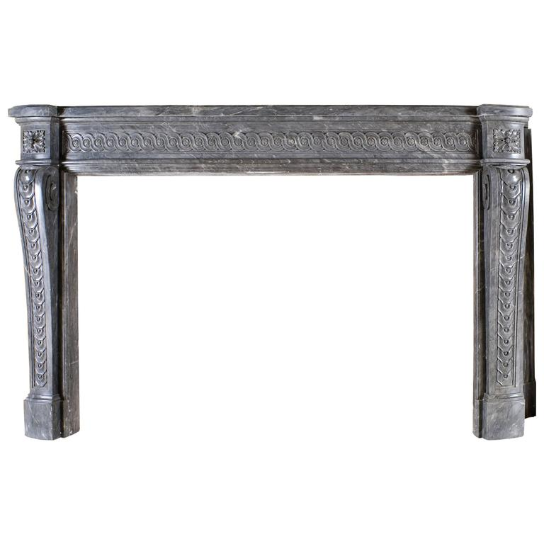 Beautiful Fireplace in Grey Marble, Louis XVI Period, 18th Century
