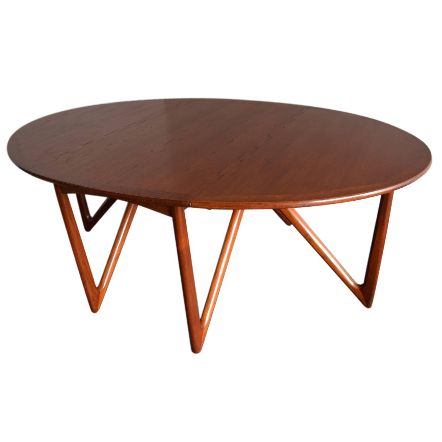 Kurt stervig niels kofoed drop leaf teak oval dining for Dining room tables drop leaf