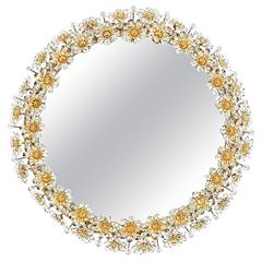 Amazing Illuminated Crystal Glass Mirror by Palwa with Gilded Frame
