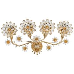 Palwa Flower Sconce from Gilt Brass and Glass