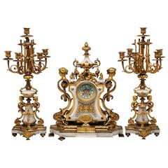 Ormolu-Mounted Alabaster Three-Piece Clock Set