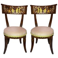 Klismos Style Faux-Tortoise Painted Chinoiserie Chairs, Pair