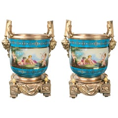 Pair of Sèvres Style Porcelain and Gilt Bronze Cache Pots