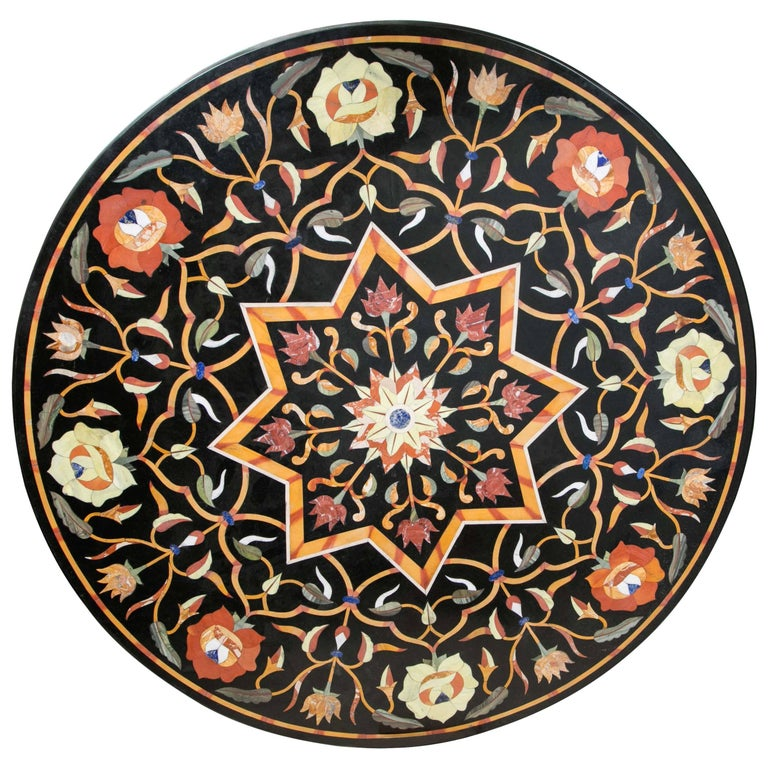 Black Marble Ground Pietra Dura Tabletop For Sale
