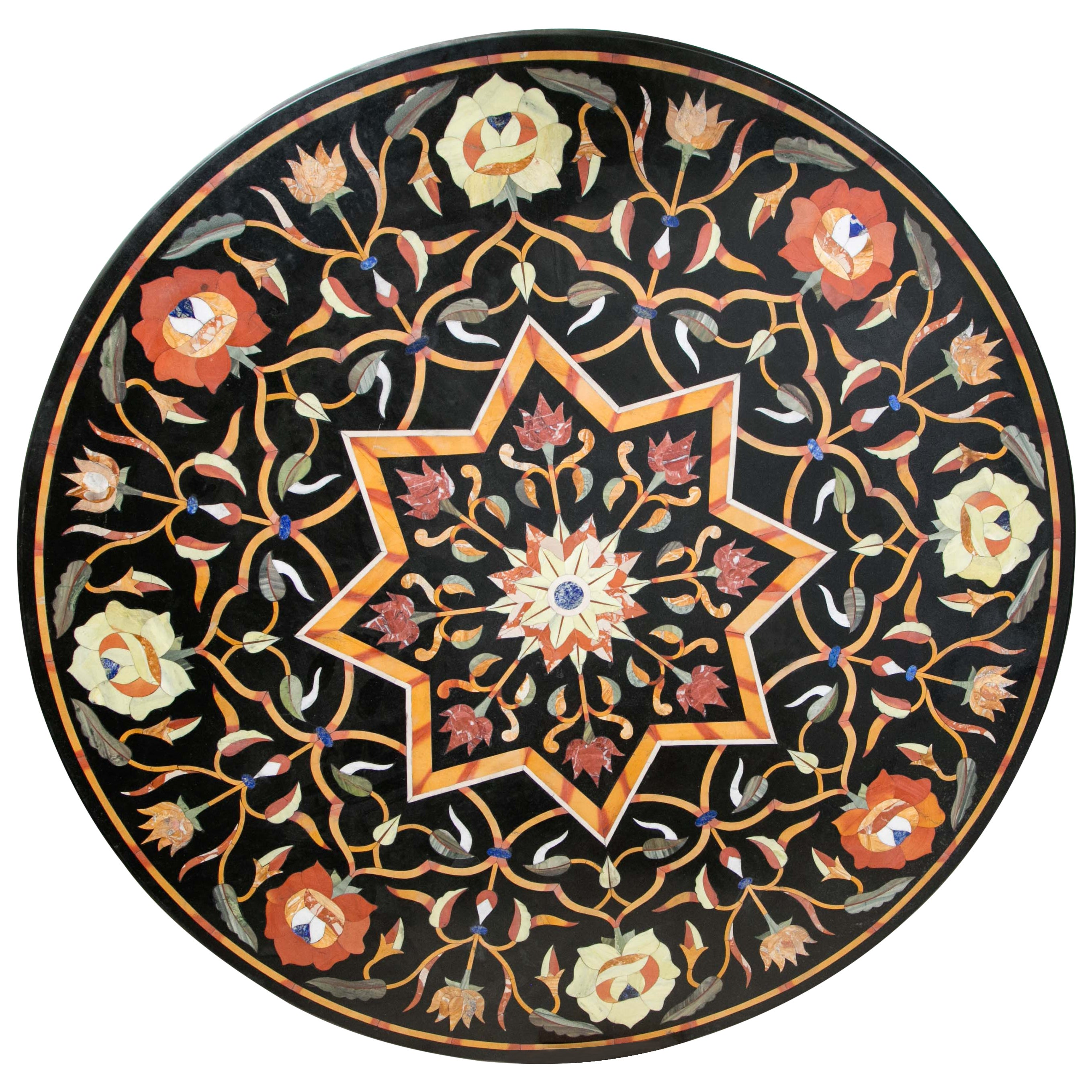 Black Marble Ground Pietra Dura Tabletop