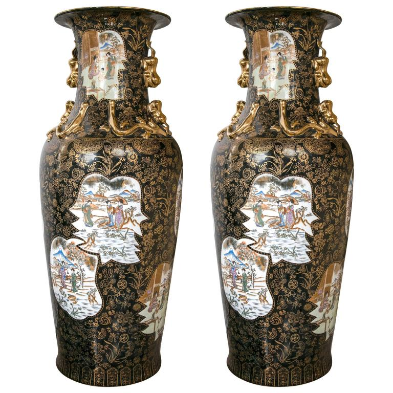 Large Pair Of Imari Floor Vases For Sale At 1stdibs