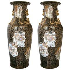 Impressive Pair of Beautiful Mirror Black Floor Vases
