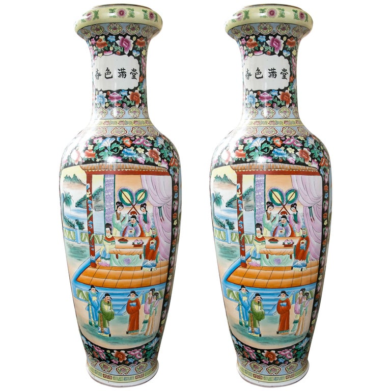 Large Pair of Chinese Porcelain Floor Vases For Sale