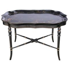 Fine English Regency Lacquer Tray on Stand