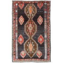Vintage Turkish Oushak Kars Rug with Black Color Background
