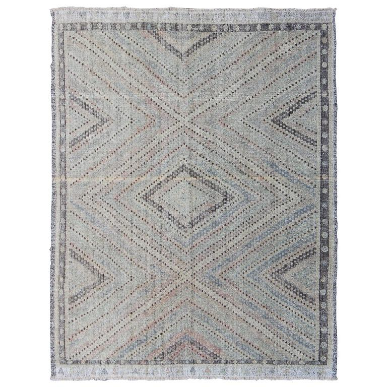 Embroidered Kilim With Pastel Colors For Sale At 1stdibs