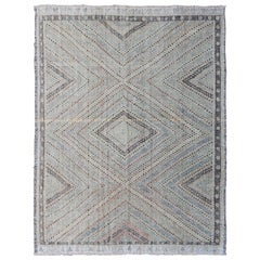 Embroidered Kilim in Light Blue, Gray, Light Teal, Brown & Pastel Colors