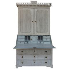 Swedish Gustavian Two-Part Secretary with Pierced Cornice