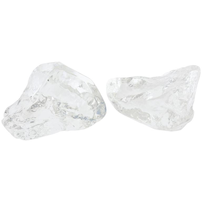 Pair of Lucite Rock Ice Sculptures