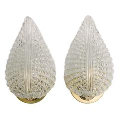Pair of Barovier Toso Glass Leaf Sconces