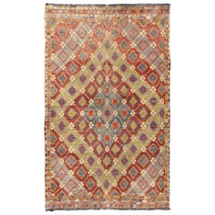 Colorful Kilim/Jijim with Diamonds in Light Green, Light Blue and Red
