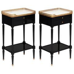 Pair of Antique Louis XVI French Side Tables with Carrara Marble Top