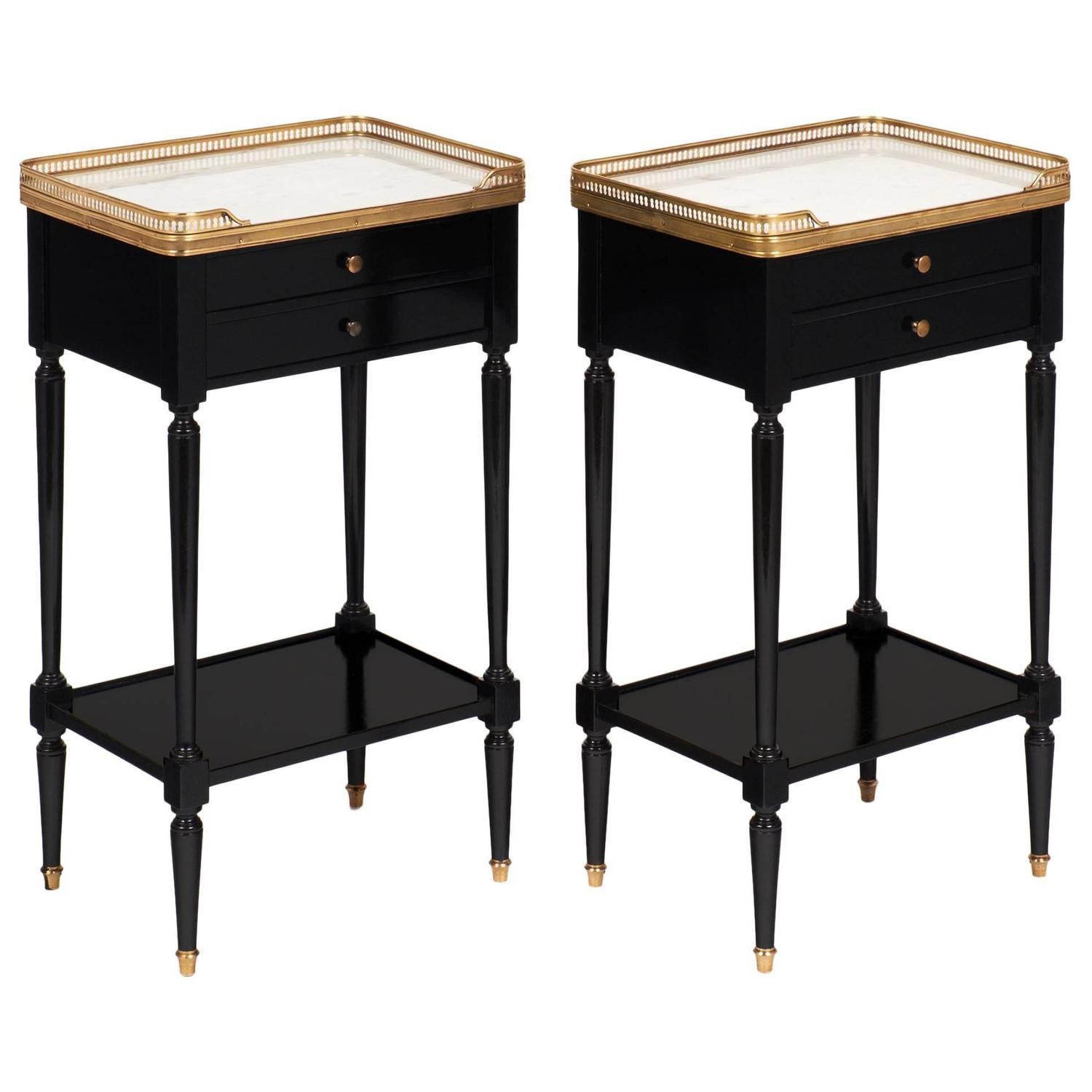 Pair of Antique Louis XVI French Side Tables with Carrara Marble